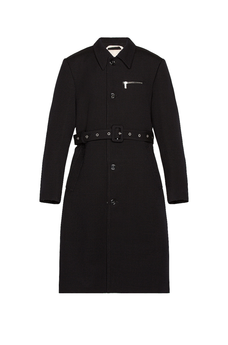 Image 1 of Raf Simons Slim Fit Trench Coat With Zipped Pockets in Dark Navy