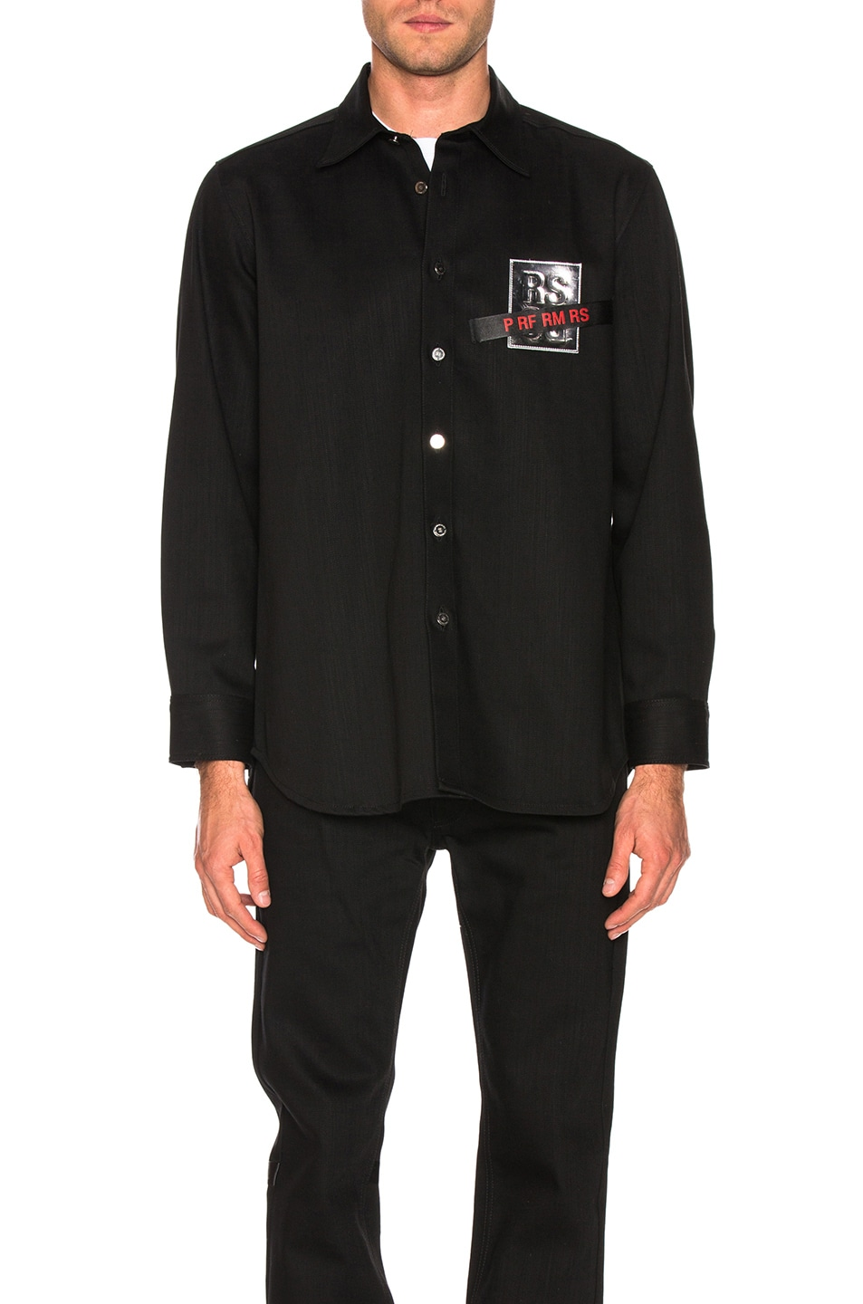 1e415422f37 Image 2 of Raf Simons Tape   Patch Denim Shirt in Black