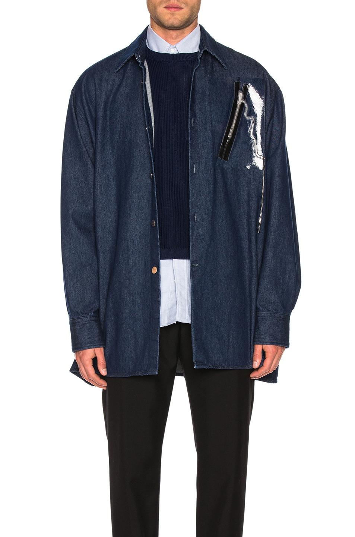 Image 1 of Raf Simons Big Fit Zipper Shirt in Dark Navy