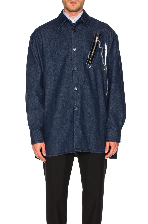 Image 2 of Raf Simons Big Fit Zipper Shirt in Dark Navy
