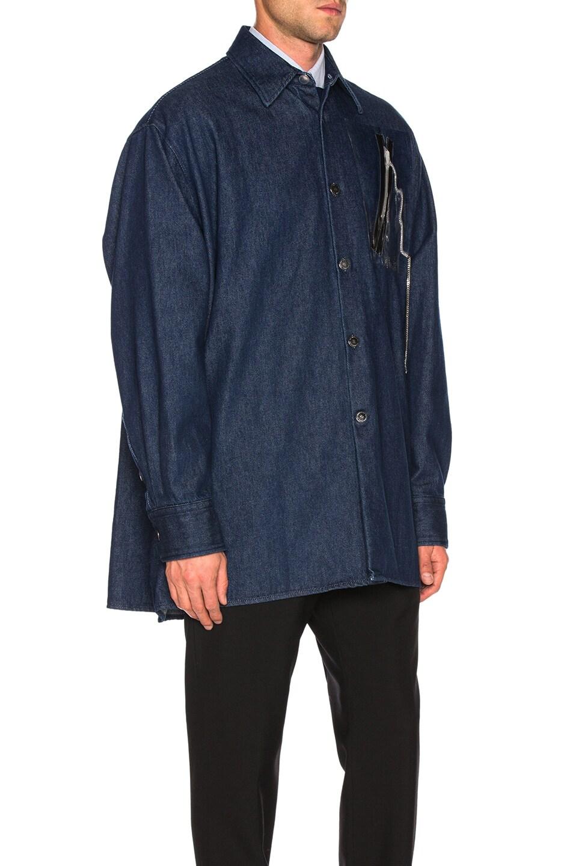 Image 3 of Raf Simons Big Fit Zipper Shirt in Dark Navy