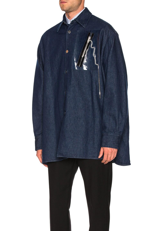 Image 4 of Raf Simons Big Fit Zipper Shirt in Dark Navy