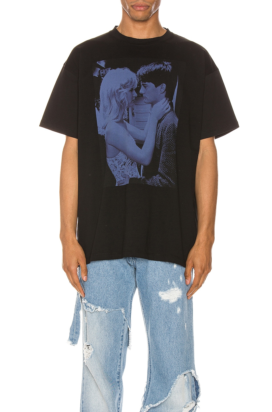 Image 1 of Raf Simons Blue Couple Tee in Black