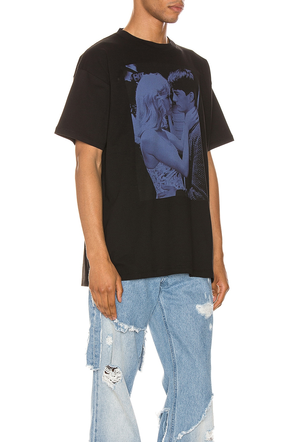 Image 2 of Raf Simons Blue Couple Tee in Black