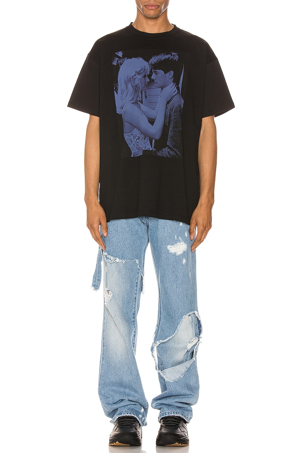 Image 4 of Raf Simons Blue Couple Tee in Black