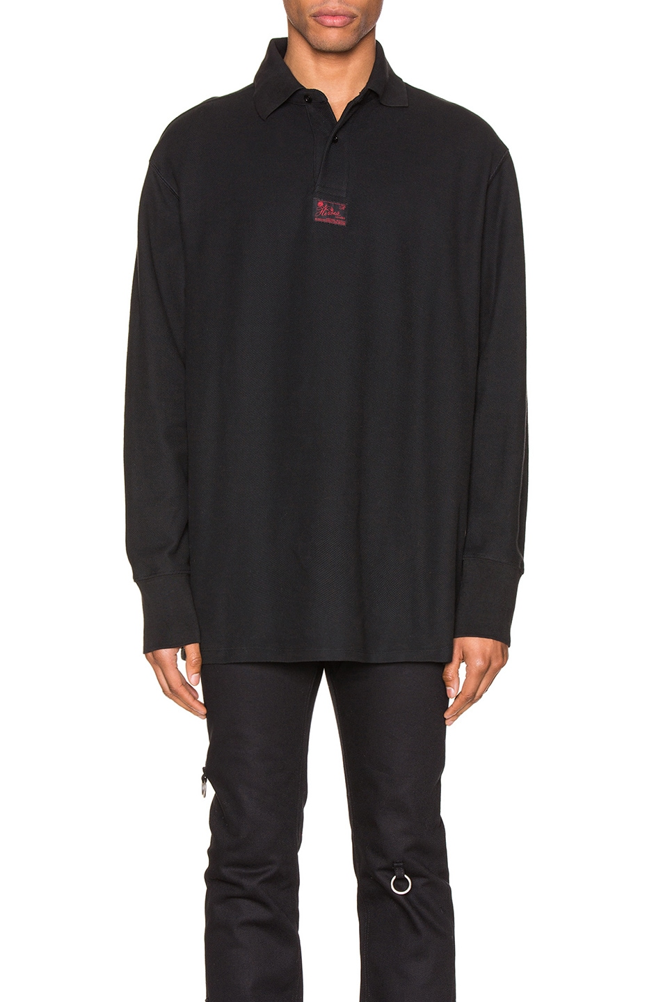Image 1 of Raf Simons Long Sleeve Polo in Black