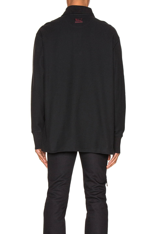 Image 3 of Raf Simons Long Sleeve Polo in Black
