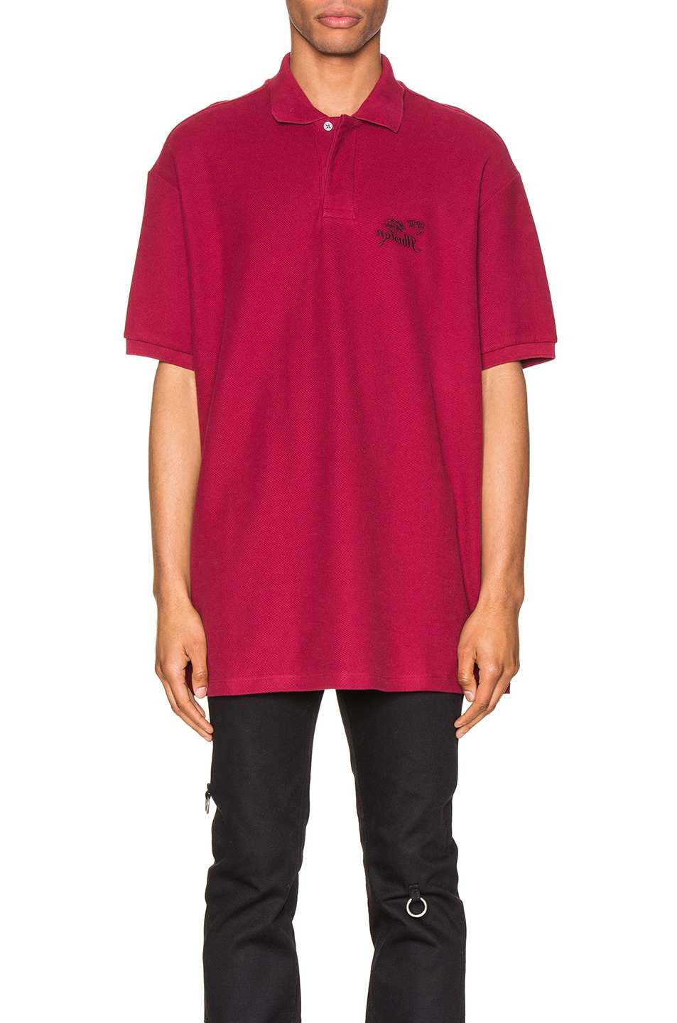 Image 1 of Raf Simons Embroidered Polo in Burgundy