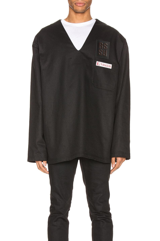 Image 1 of Raf Simons V-Neck Denim Top in Black