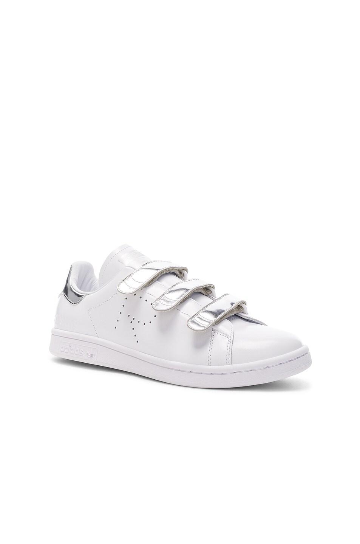 Raf Simons x Adidas Stan Smith zapatillas de cuero blanco y plata