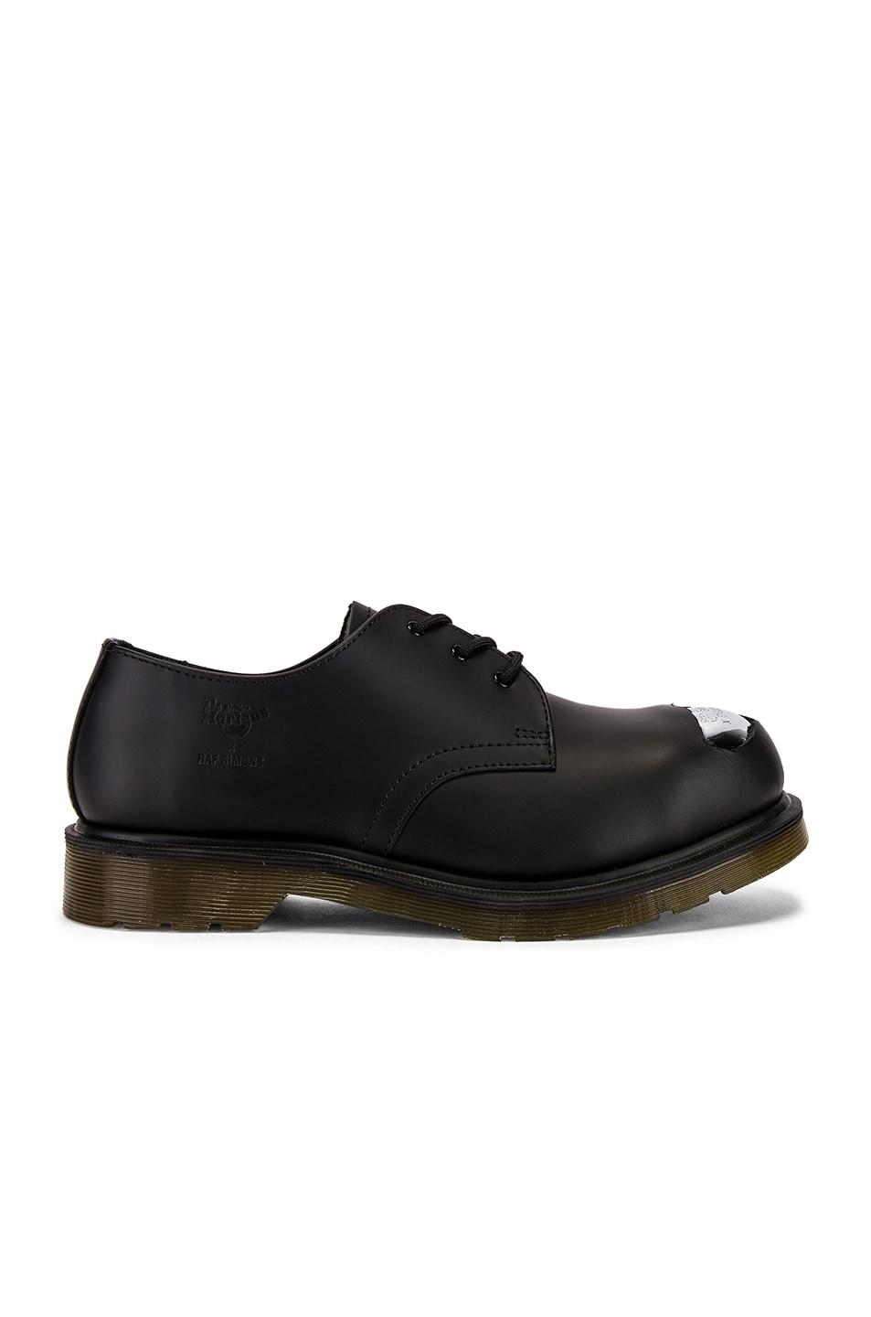 Image 2 of Raf Simons x Dr. Martens Cut Out Steel Toe Shoes in Black