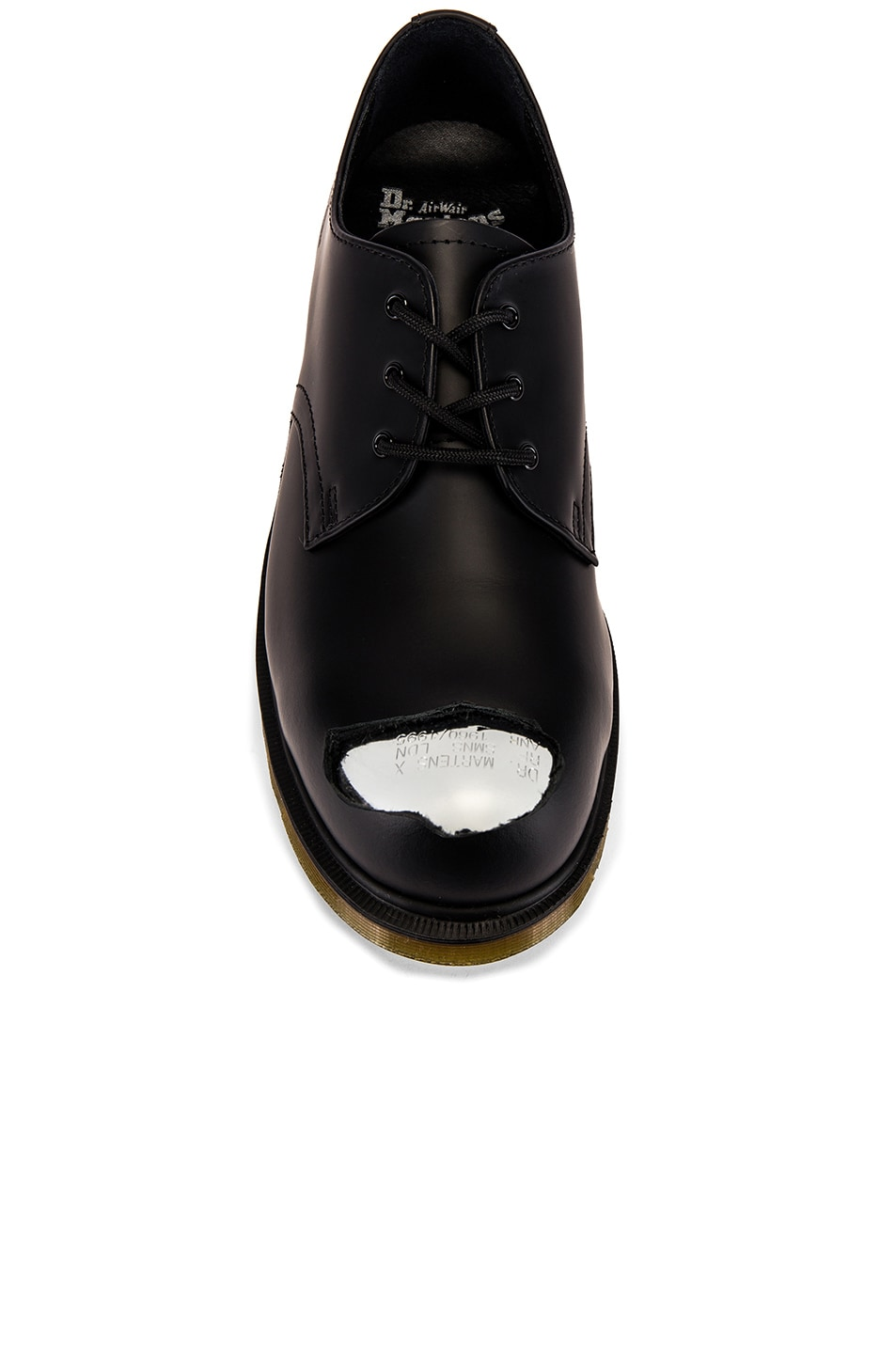 Image 4 of Raf Simons x Dr. Martens Cut Out Steel Toe Shoes in Black