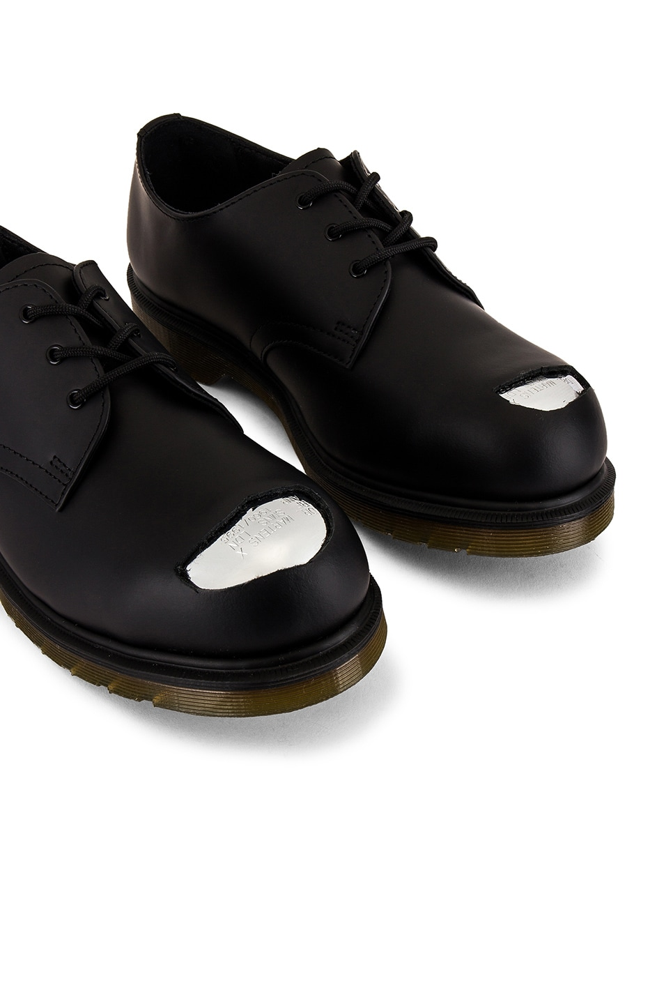 Image 6 of Raf Simons x Dr. Martens Cut Out Steel Toe Shoes in Black