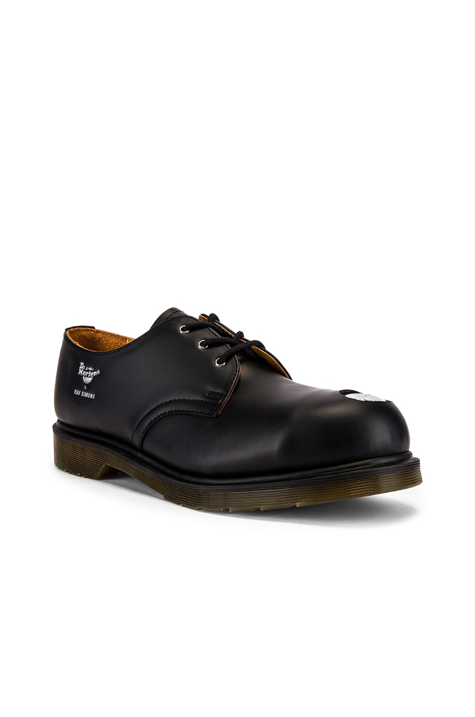 Image 1 of Raf Simons x Dr. Martens Asymmetric Cut Out Steel Shoe in Black