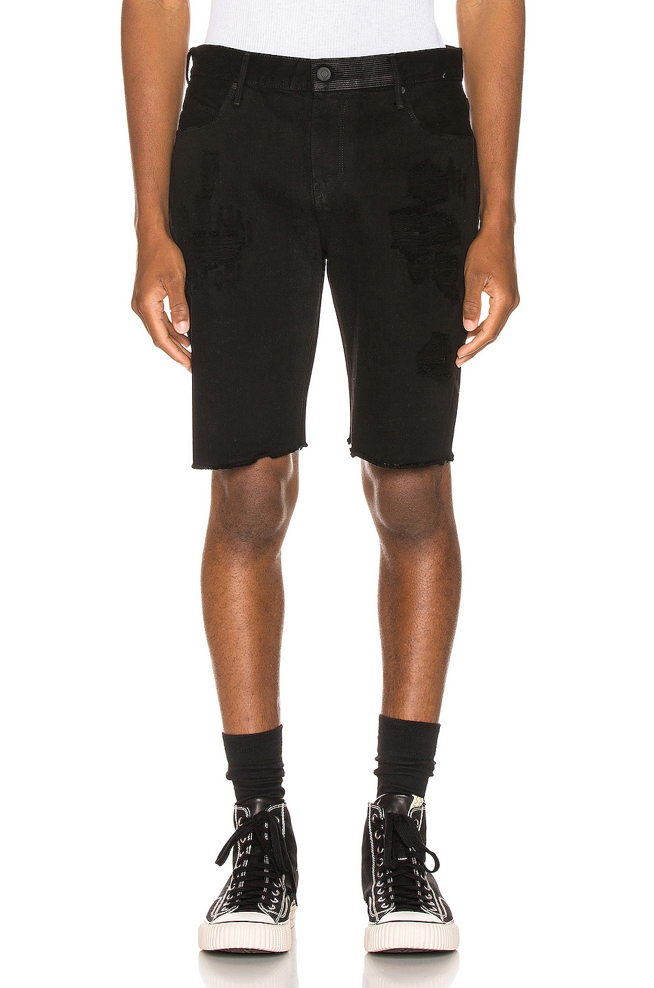 Image 2 of RtA Distressed Shorts in Black Coating