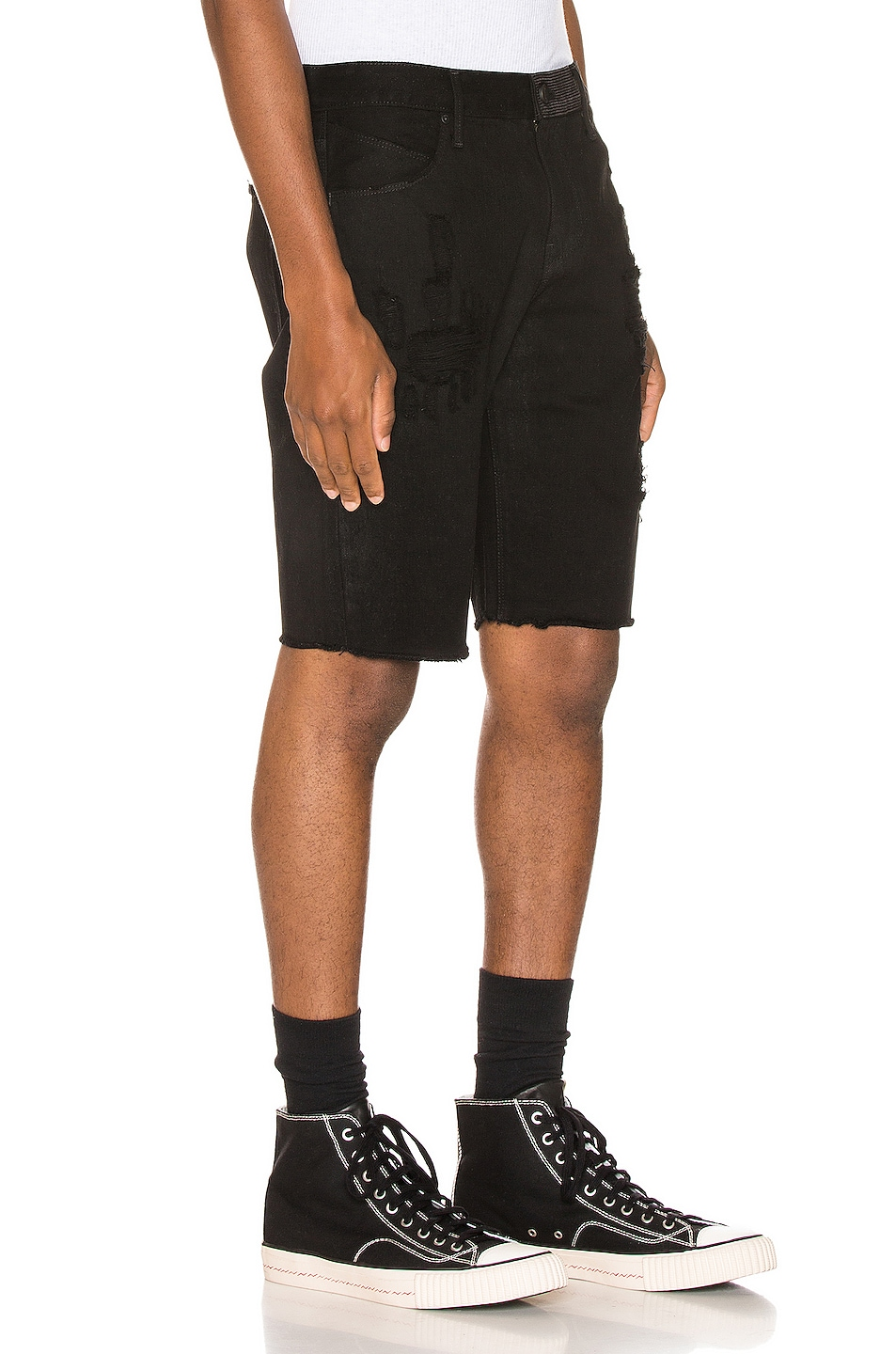 Image 3 of RtA Distressed Shorts in Black Coating