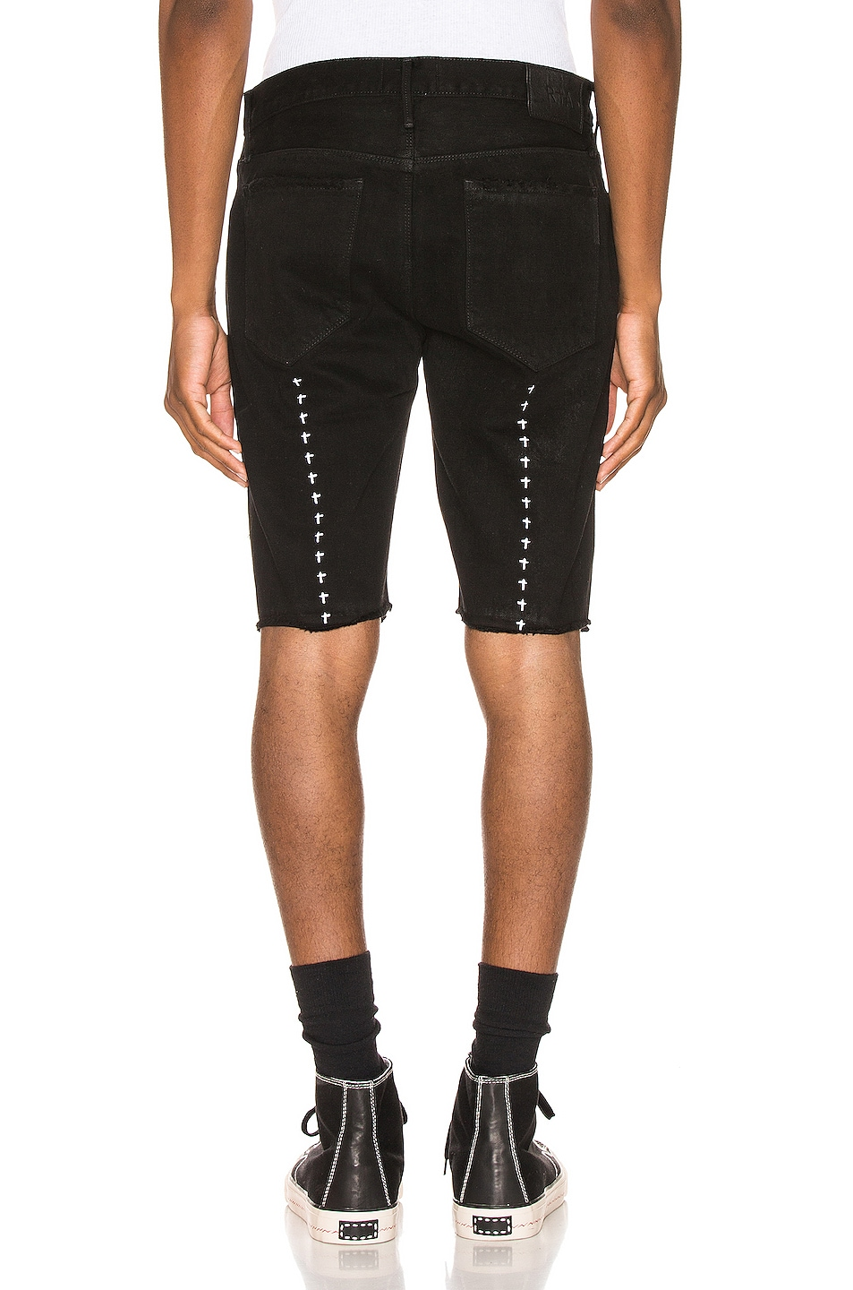 Image 4 of RtA Distressed Shorts in Black Coating