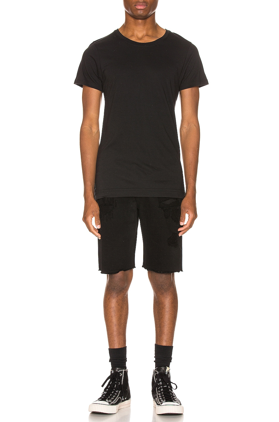 Image 5 of RtA Distressed Shorts in Black Coating