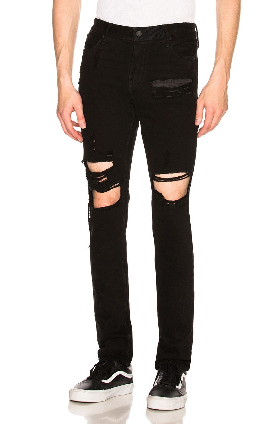 Image 1 of RtA Distressed Jeans in Black Blue