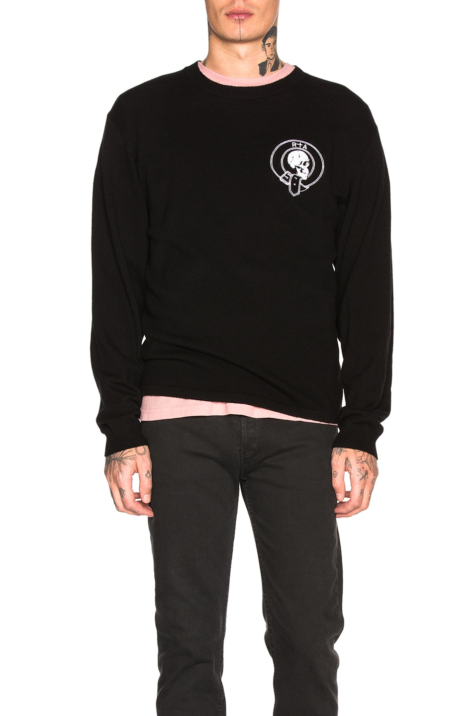 Image 1 of RtA Skull Cashmere Sweater in Black