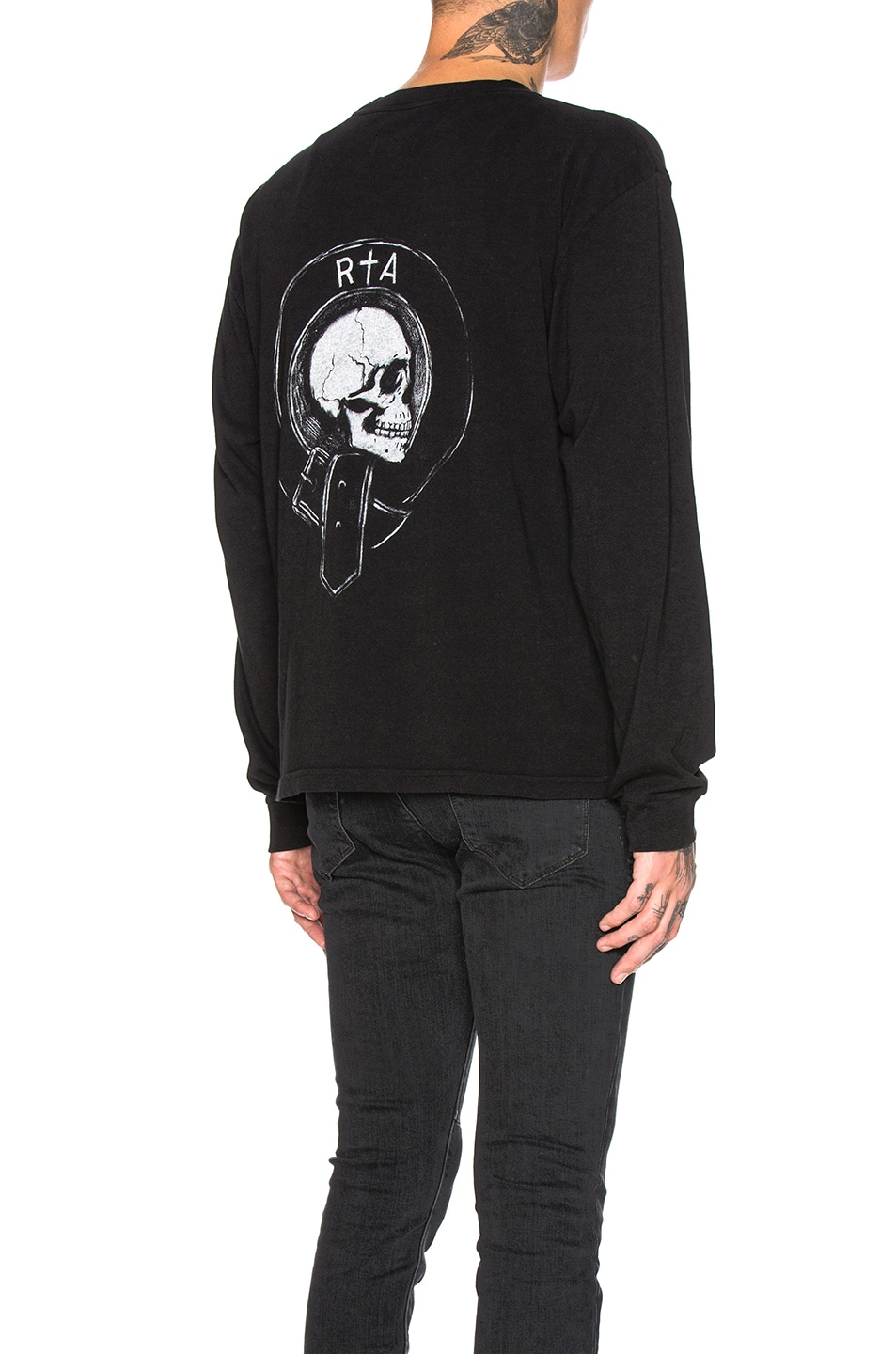 Image 1 of RtA Long Sleeve Graphic Tee in Black Crest