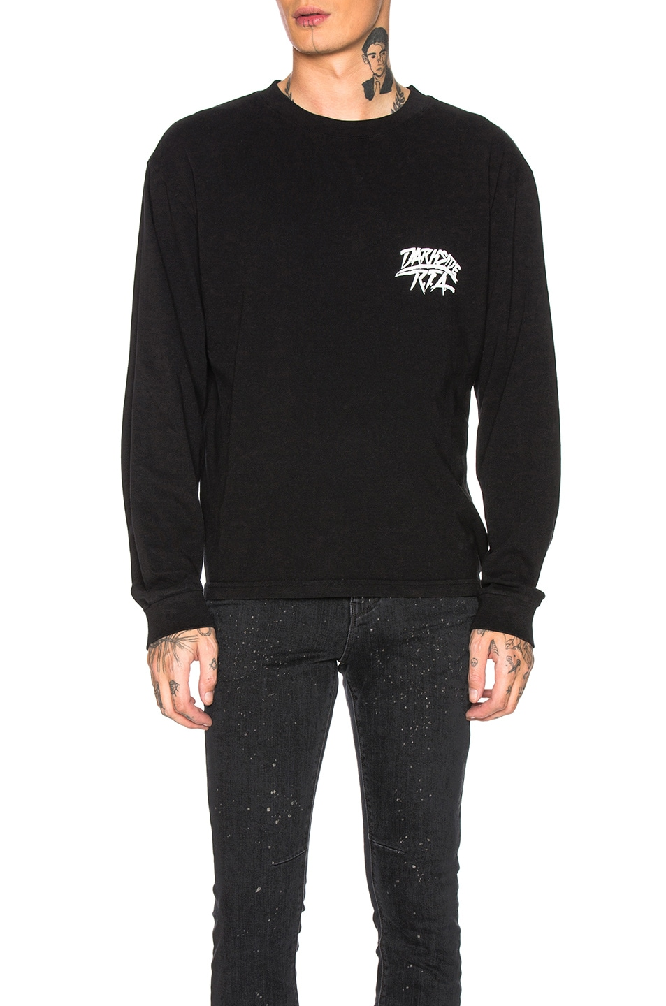 Image 2 of RtA Long Sleeve Graphic Tee in Black Crest