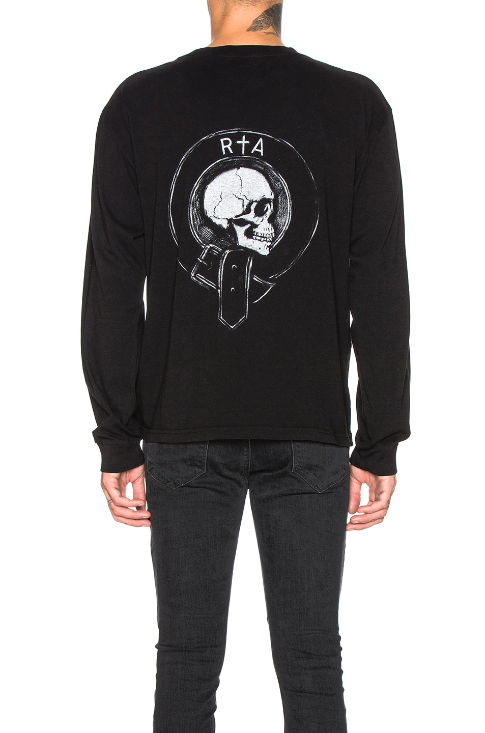 Image 4 of RtA Long Sleeve Graphic Tee in Black Crest