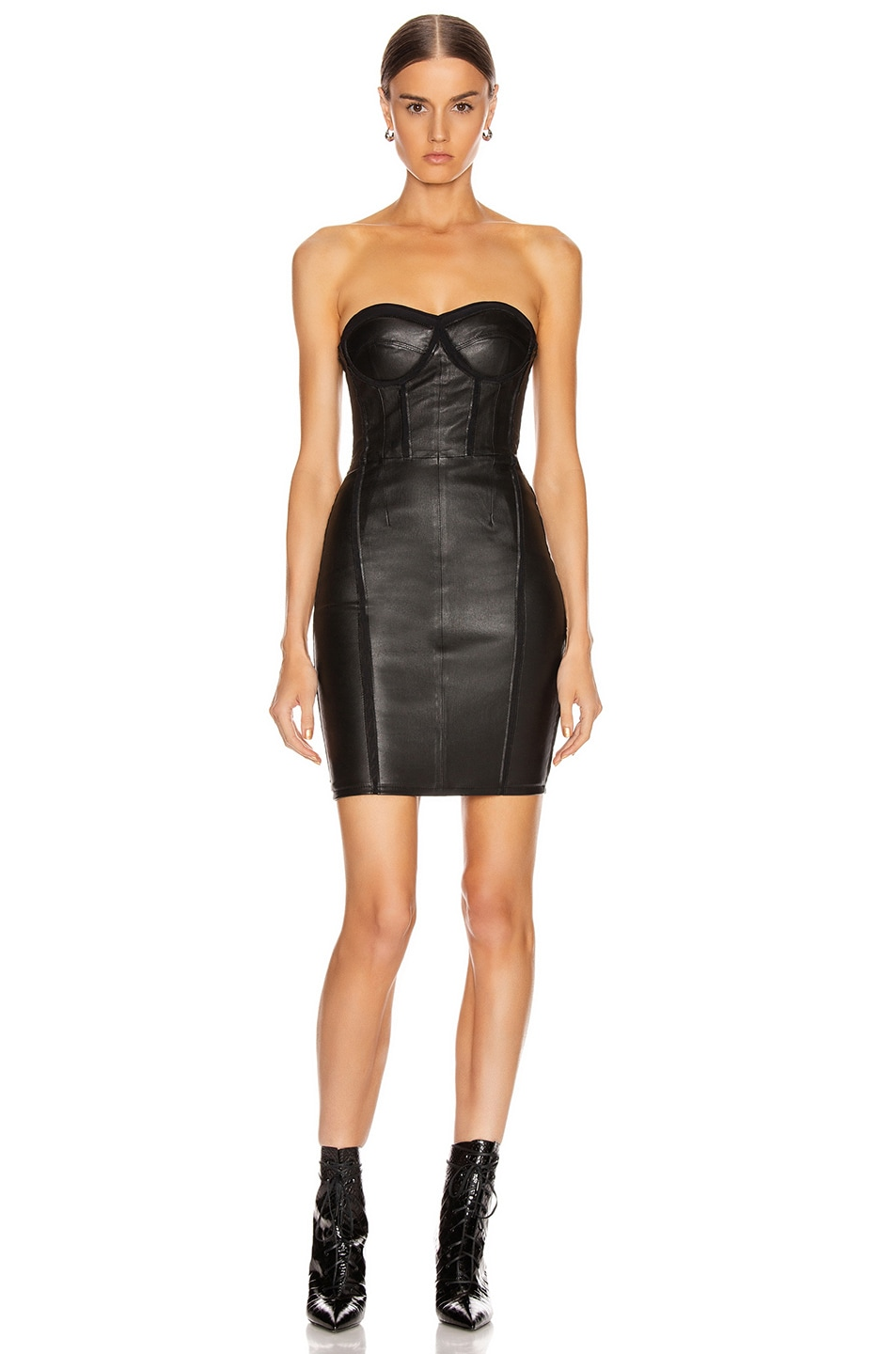 Image 1 of RtA Gwenyth Leather Dress in Black