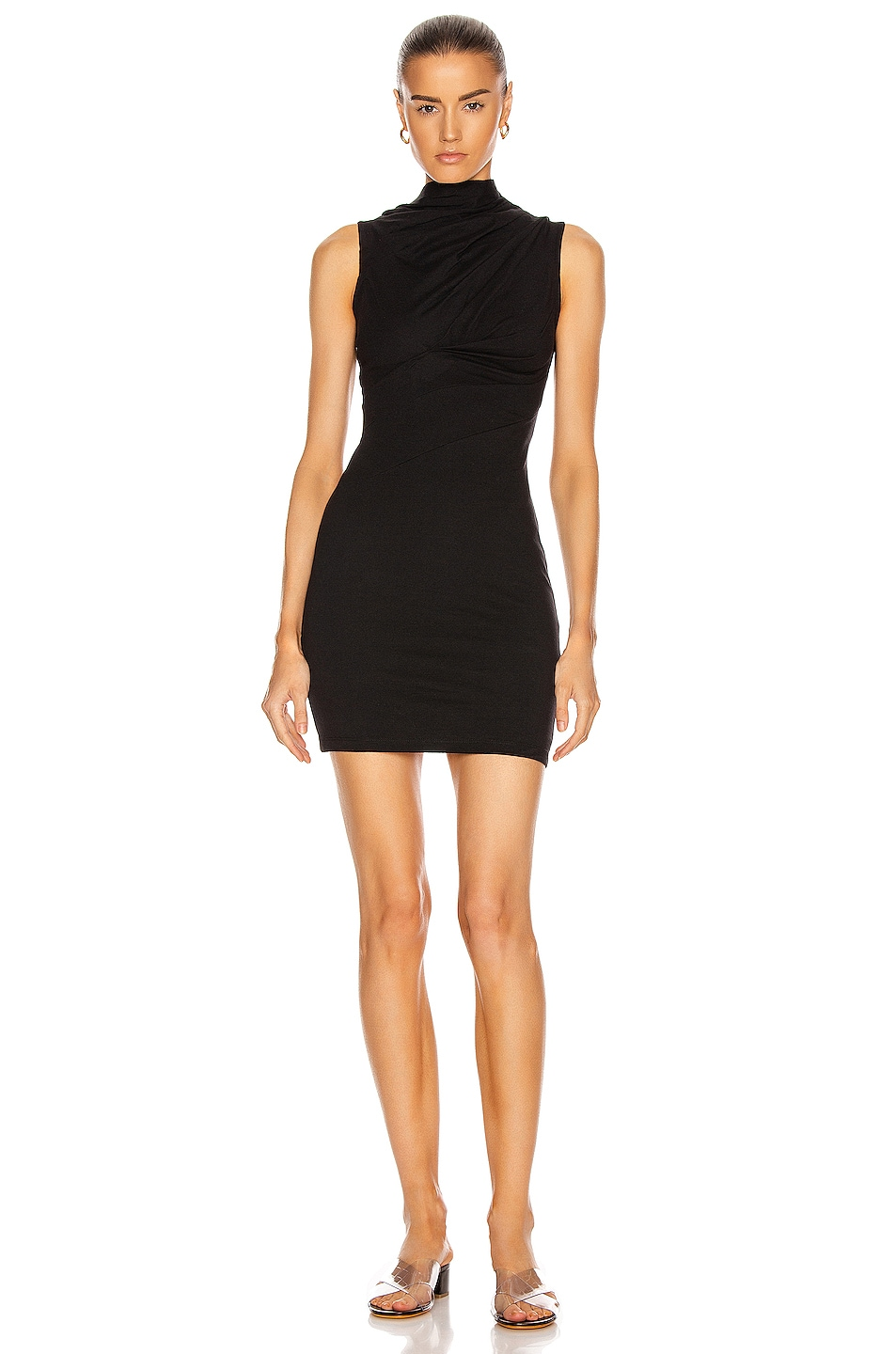 Image 1 of RtA Holly Twisted Jersey Dress in Black