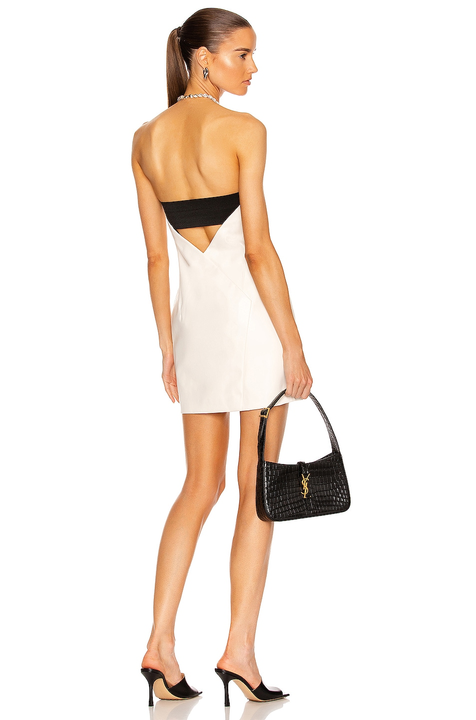 Image 1 of RtA Kailey Faux Leather Dress in White