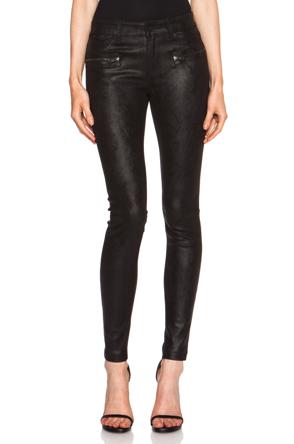 Image 1 of RtA Hip Zip Leather Skinny in Tar