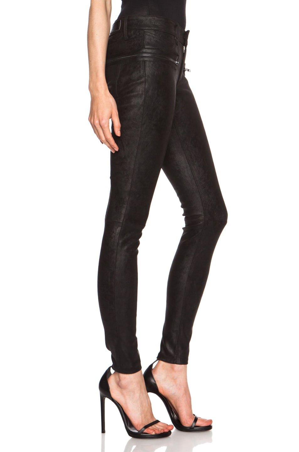 Image 3 of RtA Hip Zip Leather Skinny in Tar