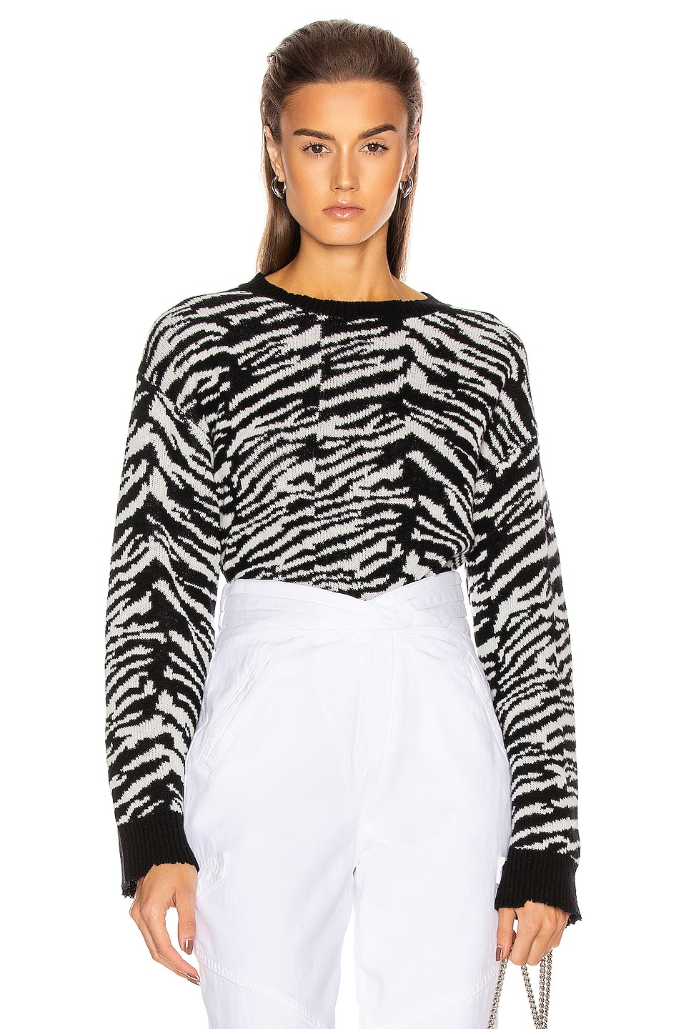 Image 1 of RtA Emma Sweater in Black Zebra