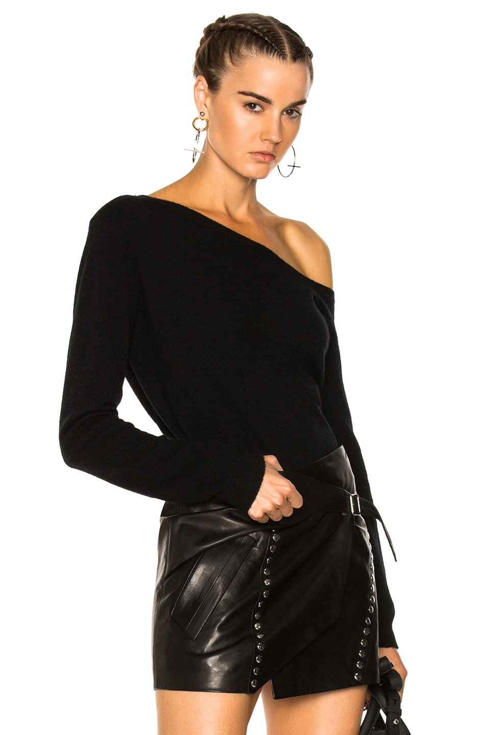 Image 1 of RtA Claudine One Shoulder Sweater in Noir