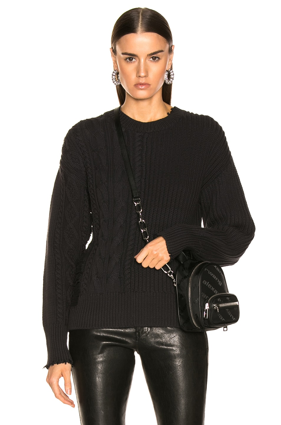 Image 1 of RtA Gunnar Sweater in Cable Black