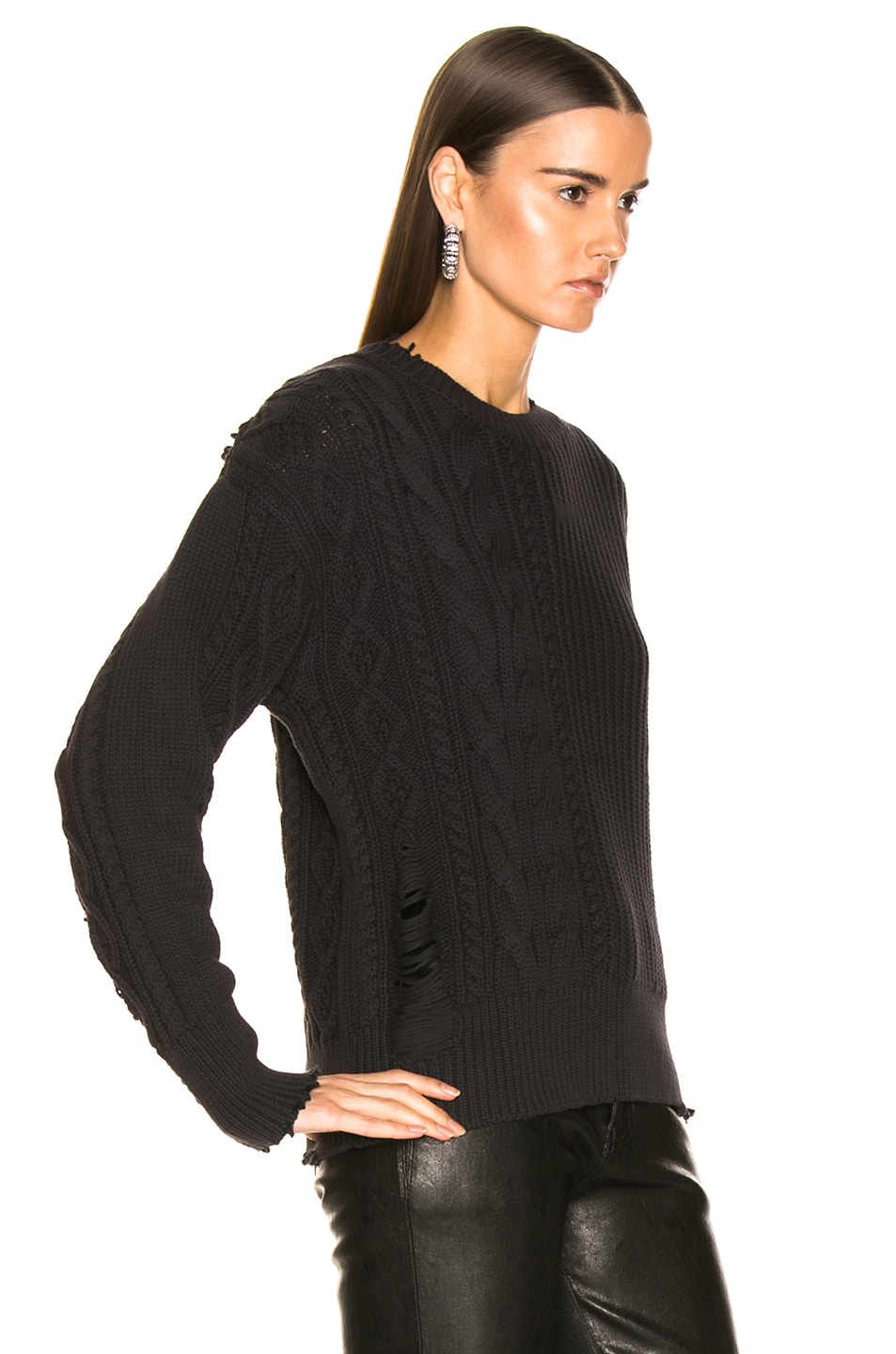 Image 2 of RtA Gunnar Sweater in Cable Black