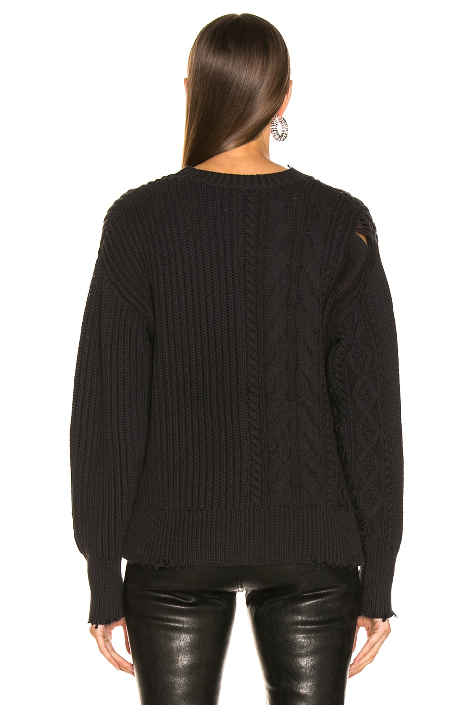 Image 4 of RtA Gunnar Sweater in Cable Black