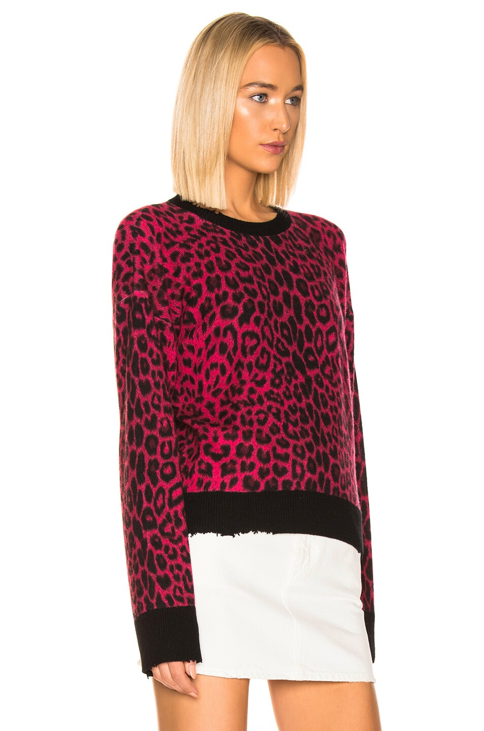 Image 2 of RtA Emma Sweater in Red Leopard Knit