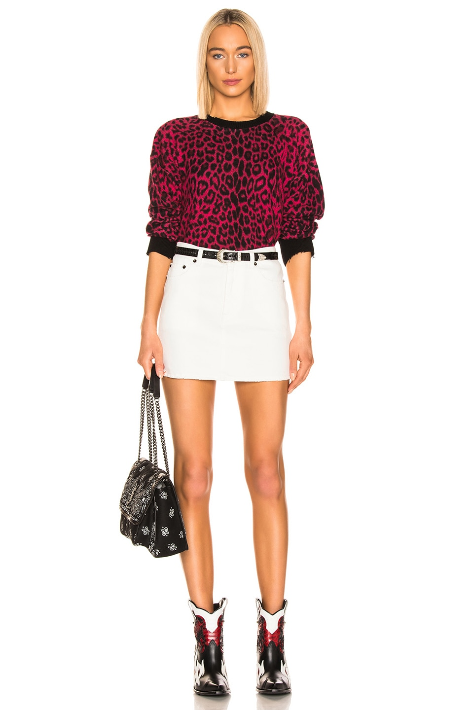 Image 4 of RtA Emma Sweater in Red Leopard Knit