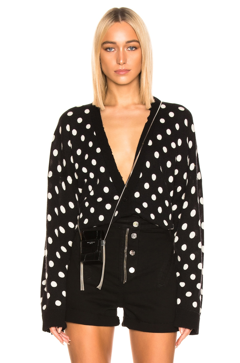 Image 1 of RtA Ella Cardigan in Black & White Dot Knit