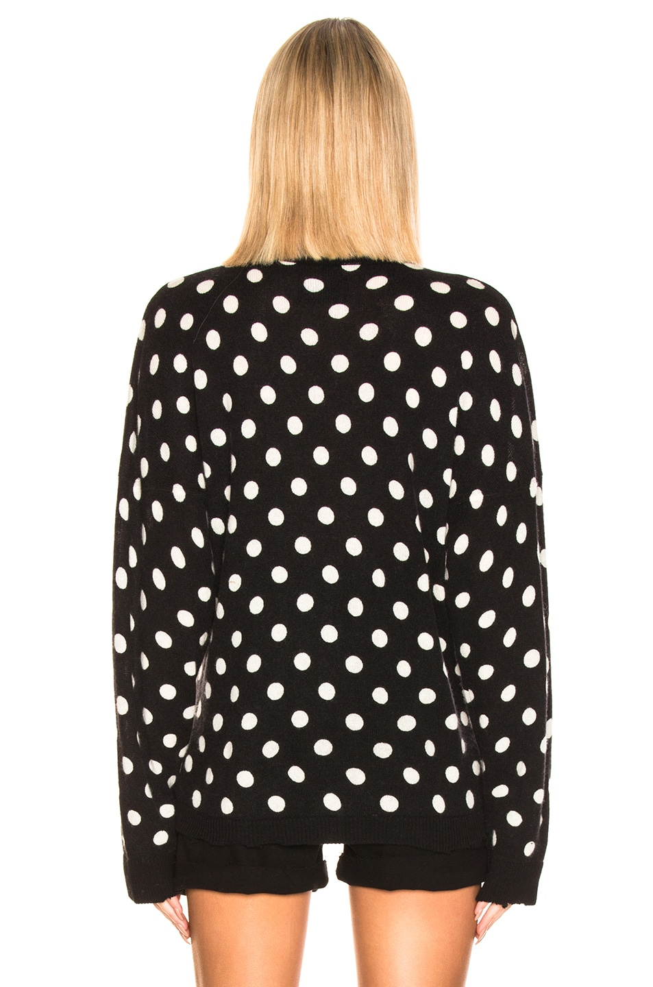 Image 3 of RtA Ella Cardigan in Black & White Dot Knit