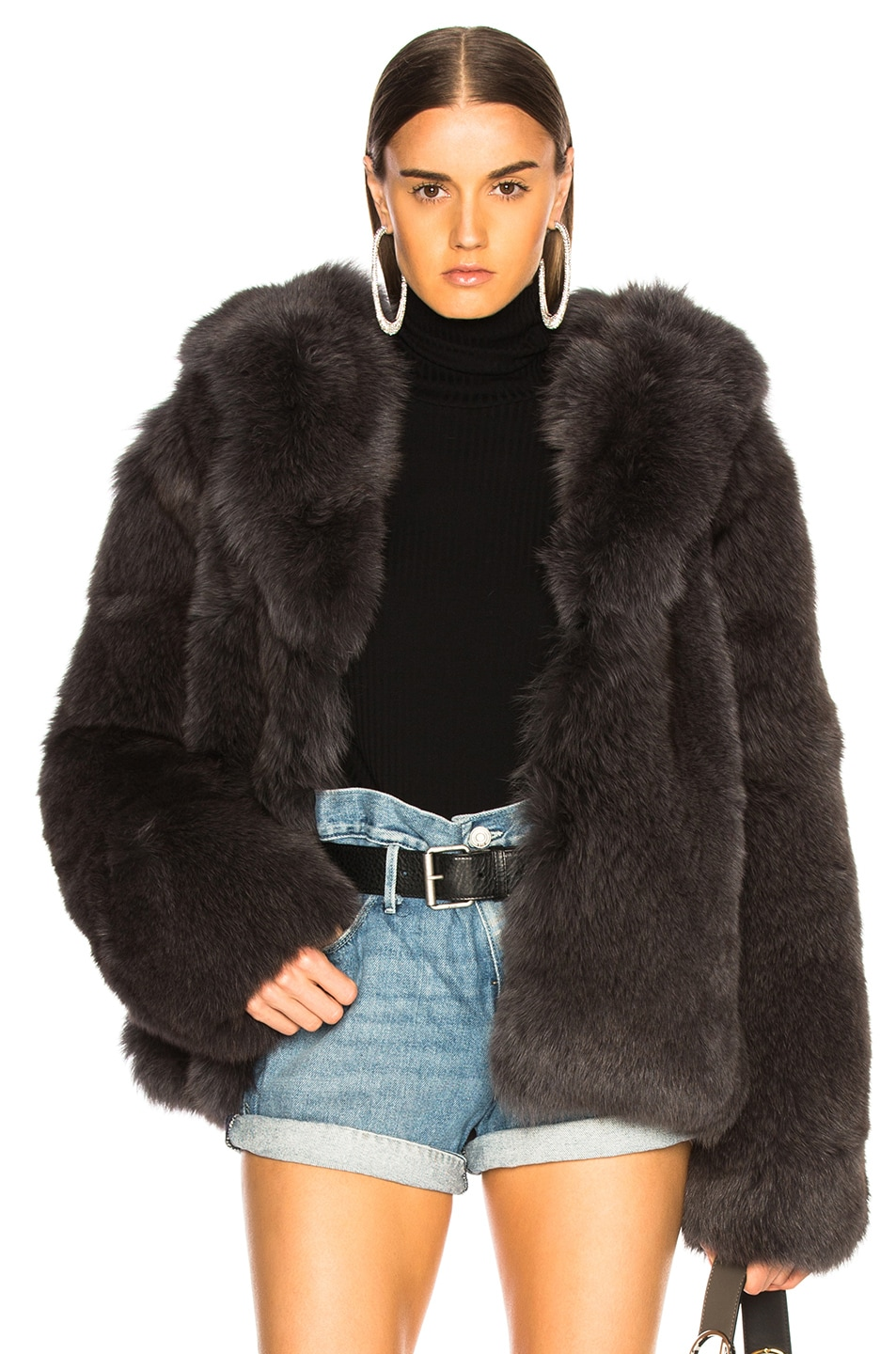 Image 1 of RtA Archie Fur Jacket in Storm Grey