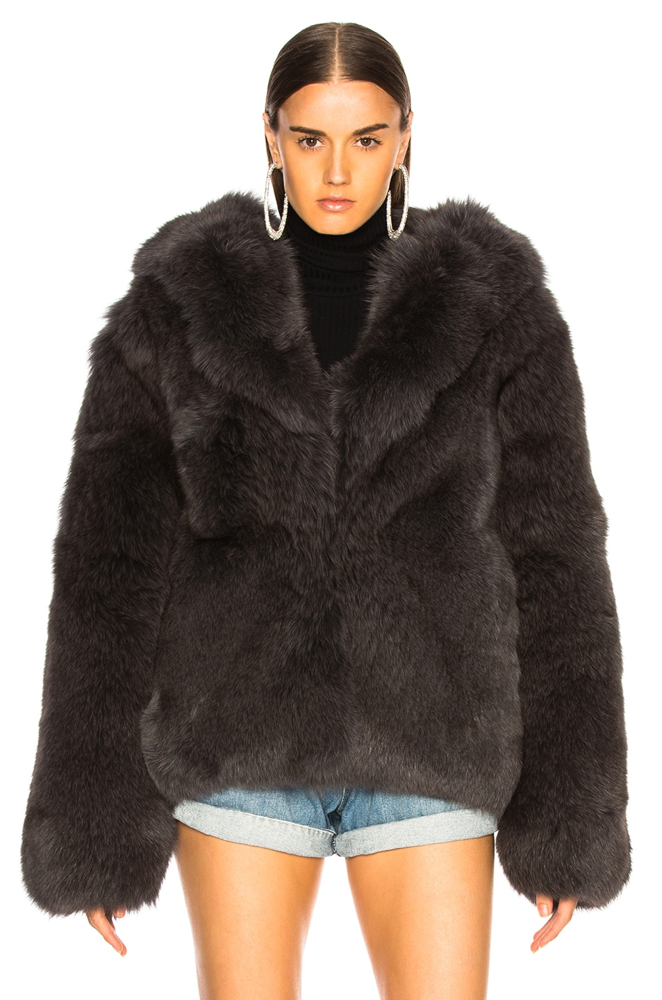 Image 2 of RtA Archie Fur Jacket in Storm Grey