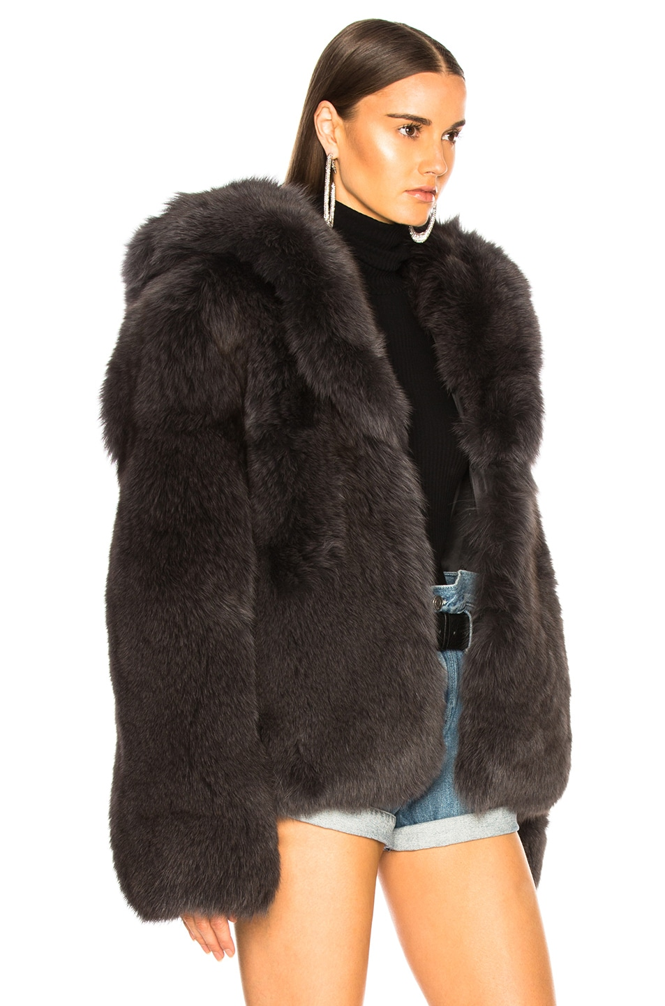 Image 3 of RtA Archie Fur Jacket in Storm Grey