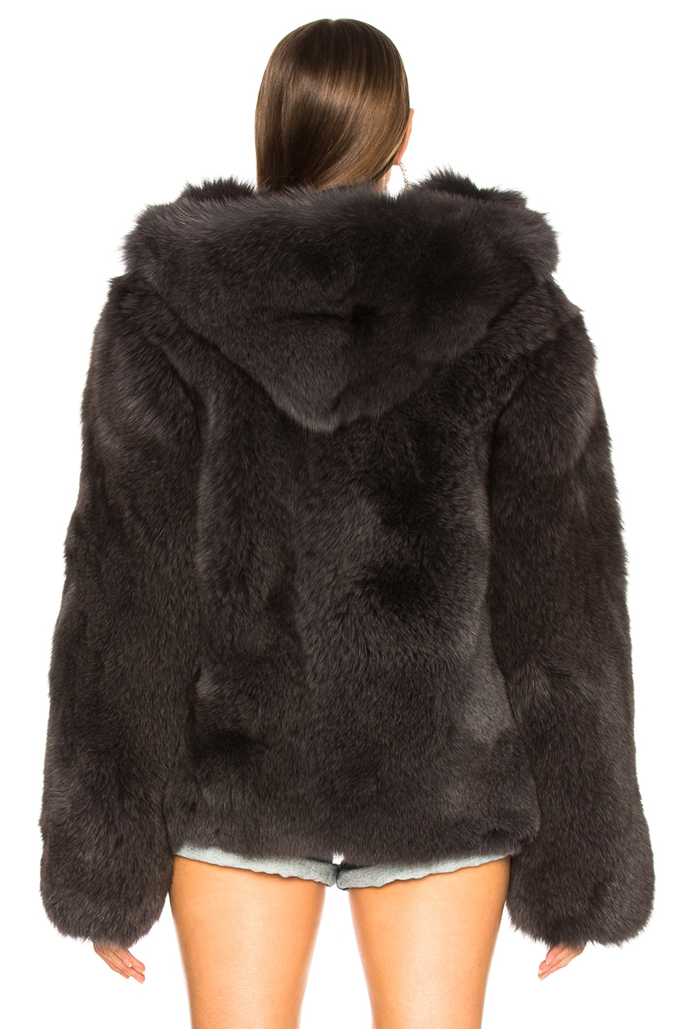 Image 4 of RtA Archie Fur Jacket in Storm Grey