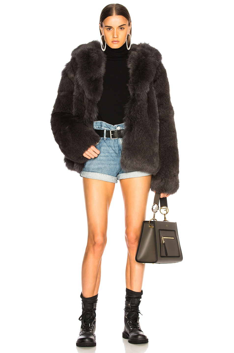 Image 5 of RtA Archie Fur Jacket in Storm Grey