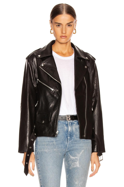 Image 1 of RtA Eryn Leather Jacket in Black Wet