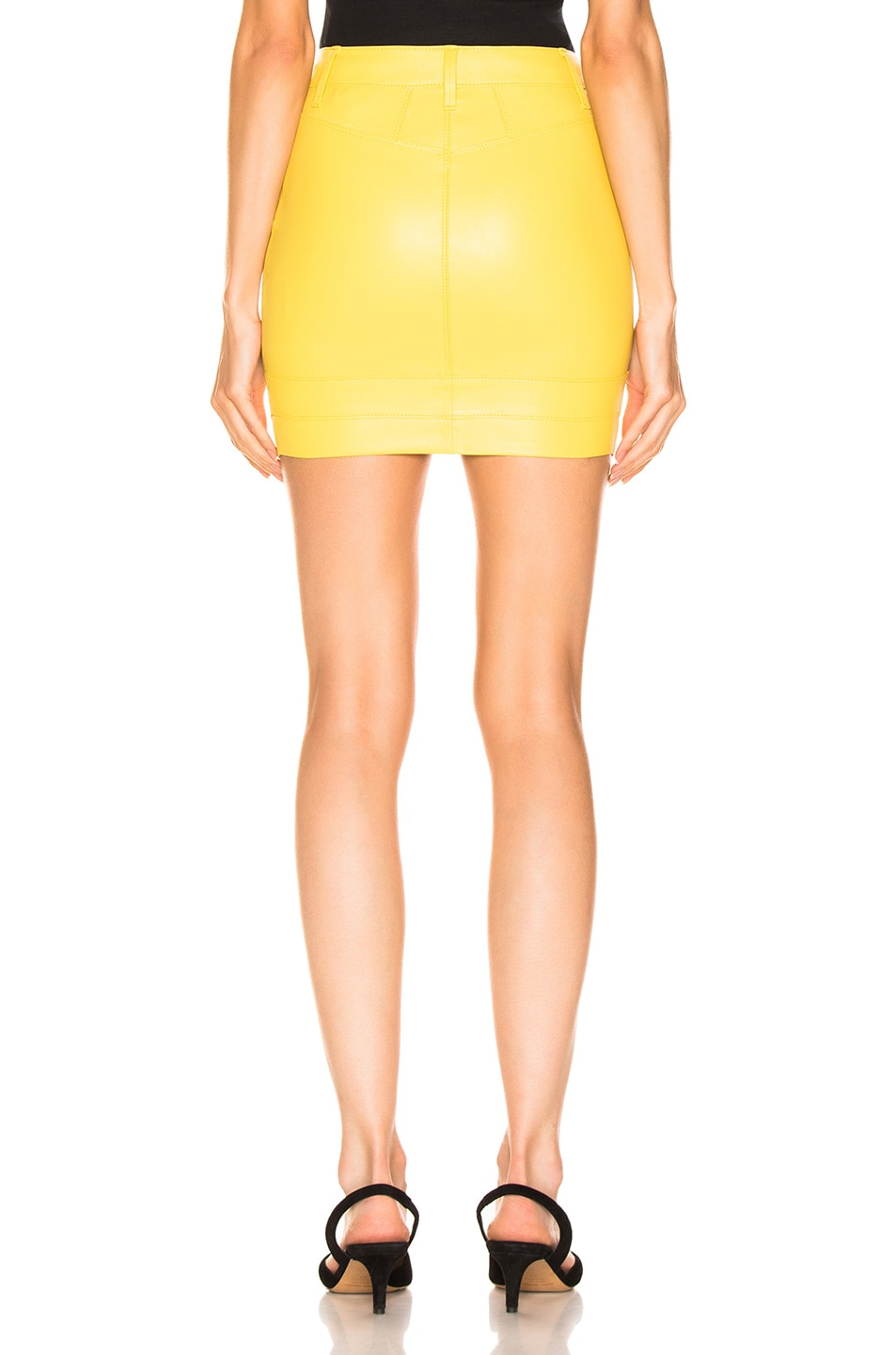 Image 3 of RtA Tempest Leather Skirt in Electric Yellow