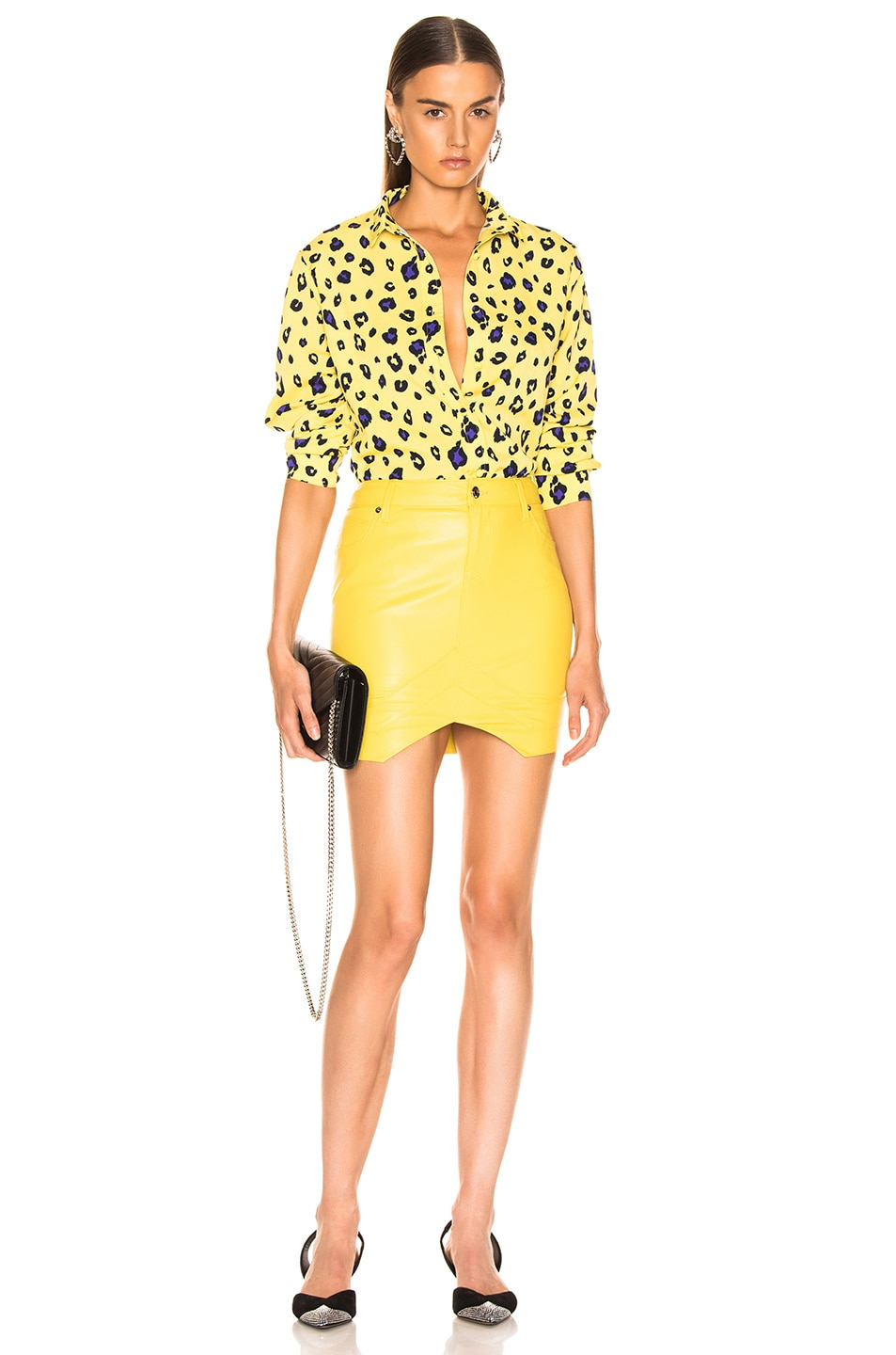 Image 4 of RtA Tempest Leather Skirt in Electric Yellow