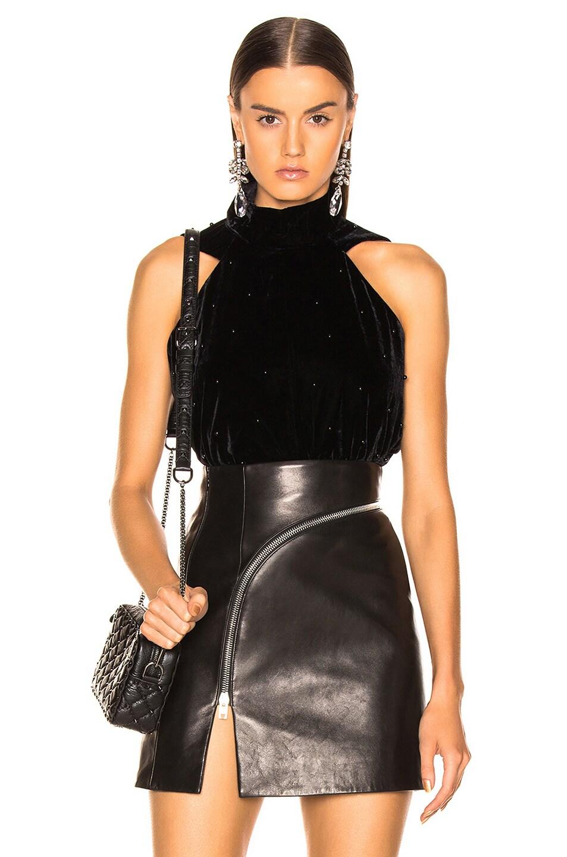 Image 1 of RtA Birdie Velvet Top in Black Pearl
